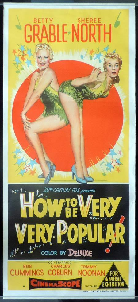 HOW TO BE VERY VERY POPULAR Daybill Movie Poster Betty Grable