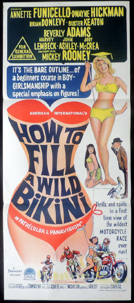 HOW TO FILL A WILD BIKINI 1965 Vintage Australian Daybill Movie Poster