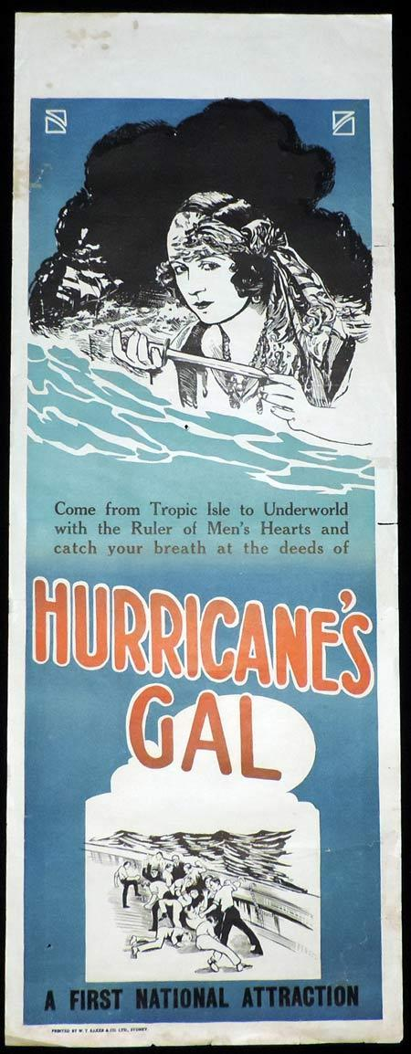 HURRICANE'S GAL Original Long Daybill Movie Poster 1922 Dorothy Phillips Wallace Beery