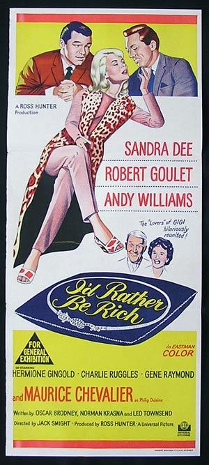 I'D RATHER BE RICH Movie poster 1964 Sandra Dee Daybill