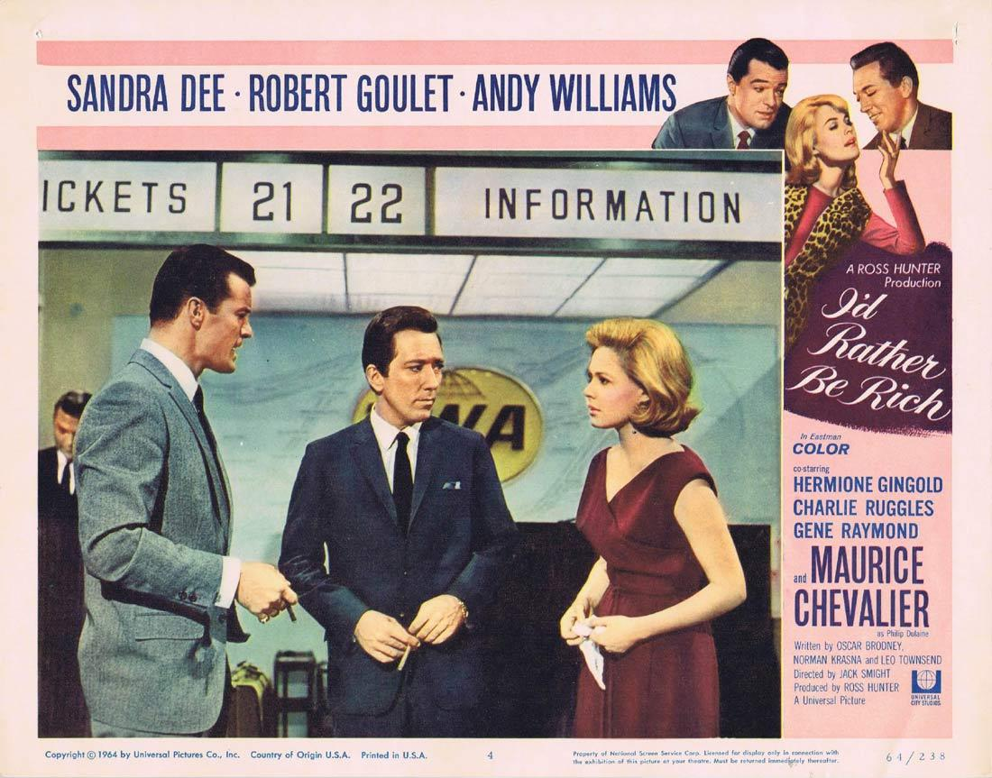 I'D RATHER BE RICH Lobby Card 8 Sandra Dee Robert Goulet Andy Williams