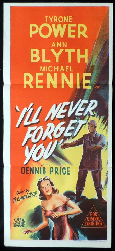 I'LL NEVER FORGET YOU Original Daybill Movie Poster Tyrone Power Ann Blyth