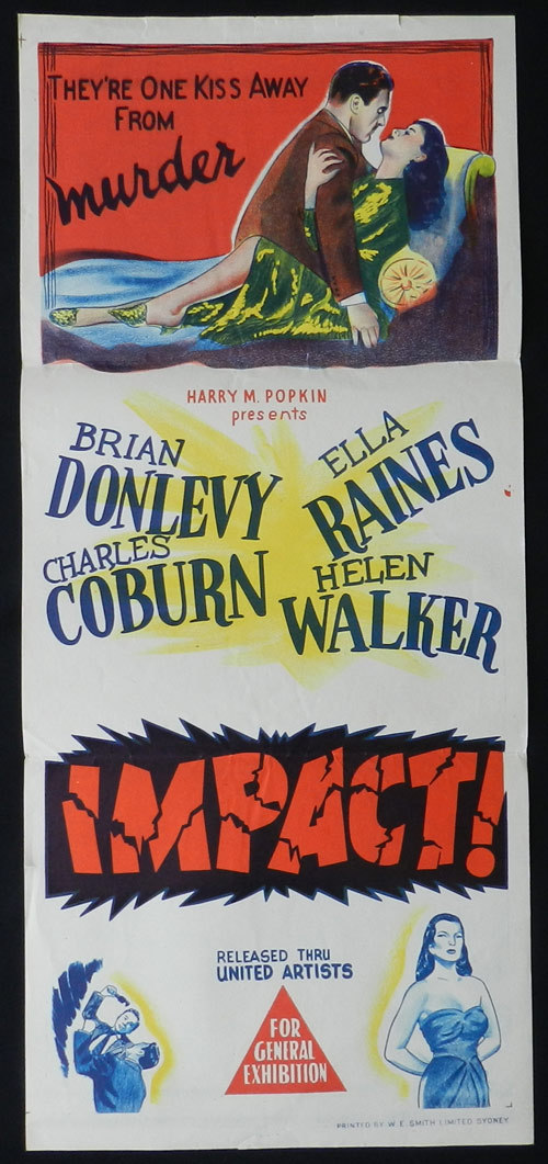 IMPACT Daybill Movie Poster 1949 Film Noir Brian Donlevy - Impact (1949) 