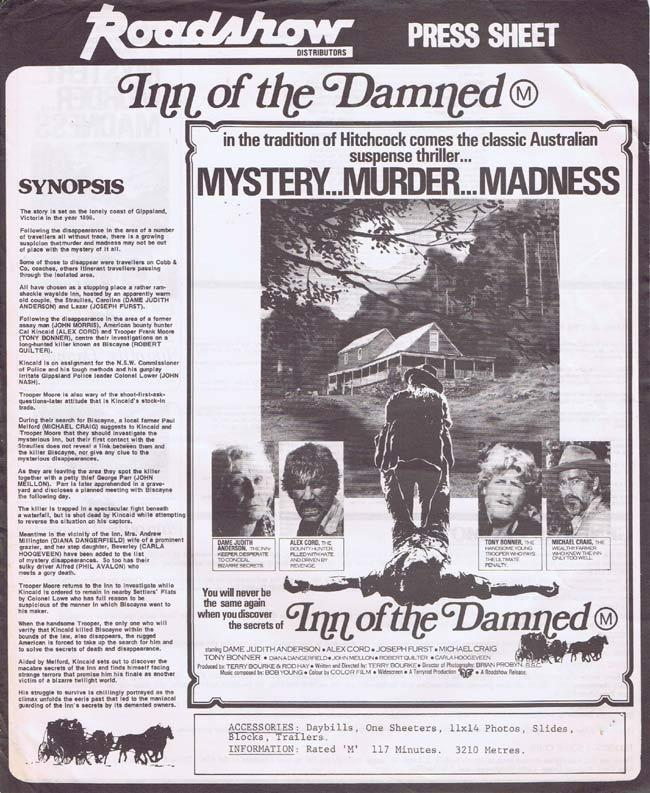 INN OF THE DAMNED Movie Press Sheet Judith Anderson Gippsland Horror