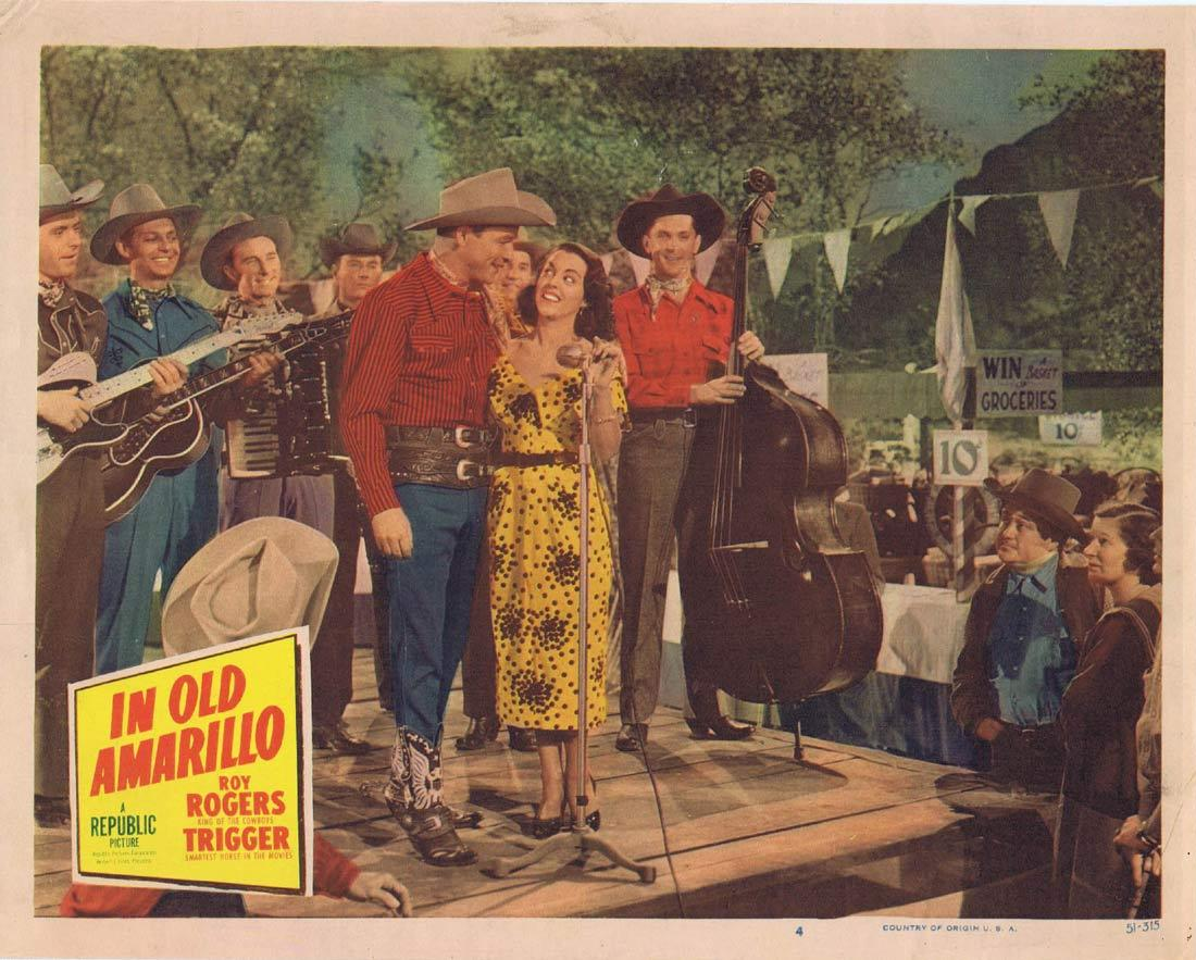 IN OLD AMARILLO Original Lobby Card 5 Roy Rogers Smiley Burnette Roy Rogers Dale Evans