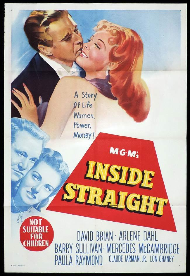 INSIDE STRAIGHT Original One sheet Movie Poster GAMBLING David Brian Arlene Dahl Barry Sullivan