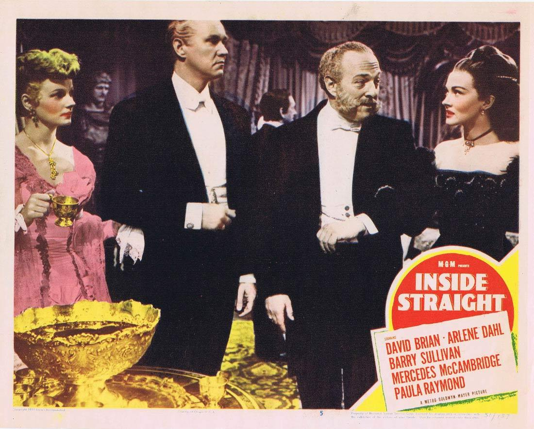 INSIDE STRAIGHT Lobby Card 5 David Brian Arlene Dahl Mercedes McCambridge