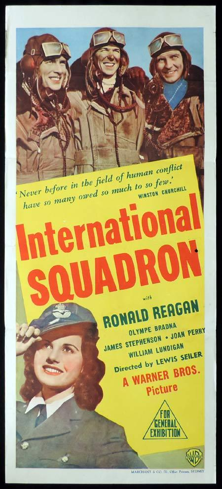 INTERNATIONAL SQUADRON Original Daybill Movie Poster Ronald Reagan Marchant