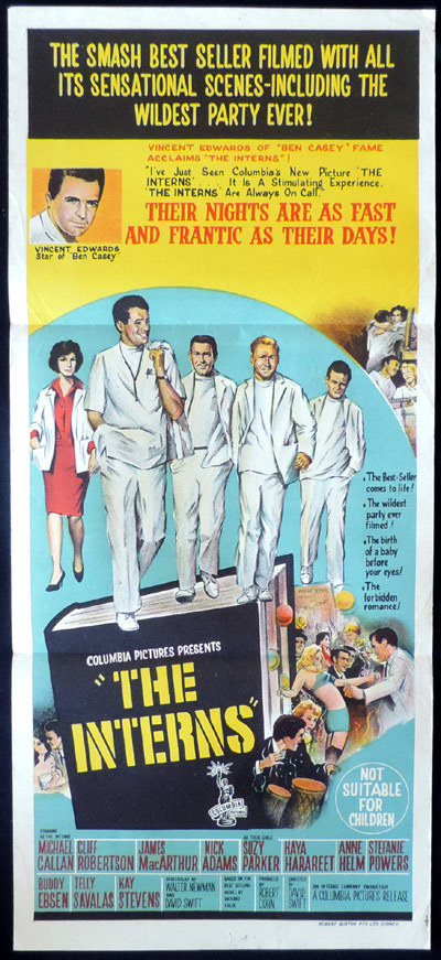 THE INTERNS Australian Daybill Movie Poster Vince Edwards Medical Drama