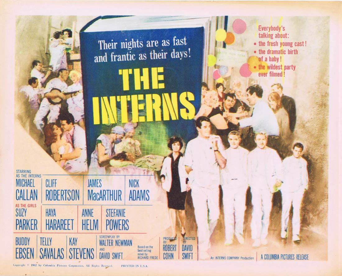 THE INTERNS Title Lobby Card Michael Callan Cliff Robertson