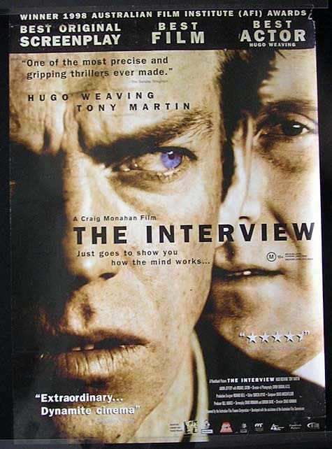 THE INTERVIEW Hugo Weaving Australian 1 sheet Movie poster