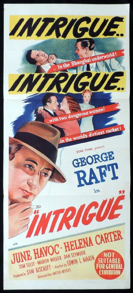INTRIGUE Original Daybill Movie Poster 1947 George Raft Film Noir