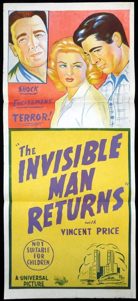 THE INVISIBLE MAN RETURNS Original 1950s stock Daybill Movie Poster Sir Cedric Hardwicke Vincent Price Nan Grey