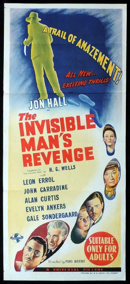 THE INVISIBLE MAN'S REVENGE Original daybill Movie Poster Universal Horror