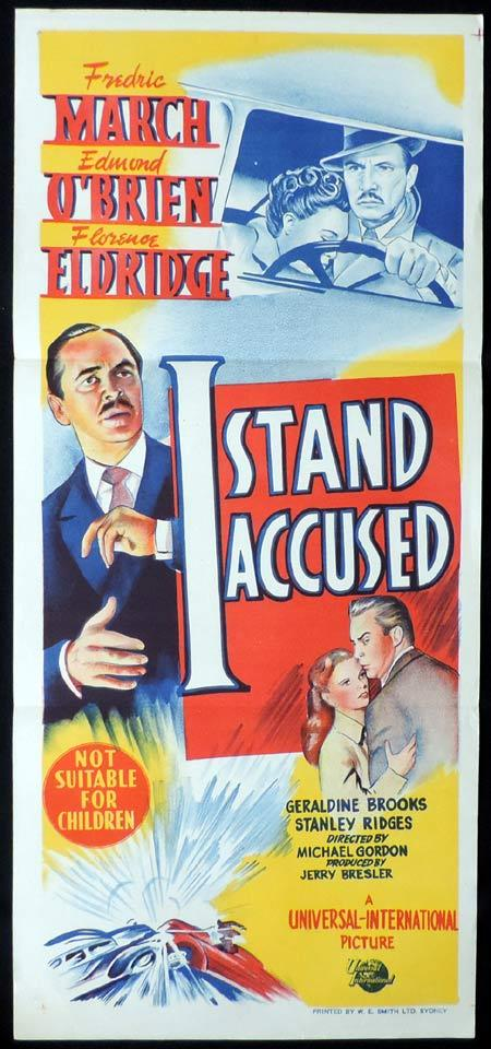 I STAND ACCUSED Original Daybill Movie Poster Edmond O'Brien Fredric March