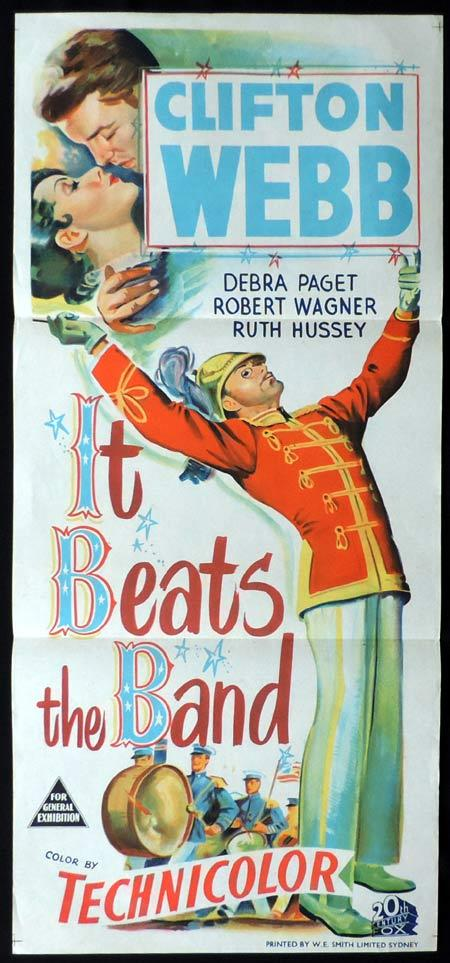 IT BEATS THE BAND Original Daybill Movie Poster Clifton Webb Debra Paget
