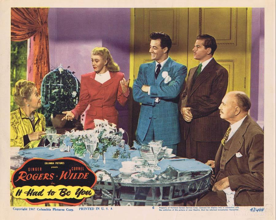IT HAD TO BE YOU Lobby Card 6 Ginger Rogers Cornel Wilde