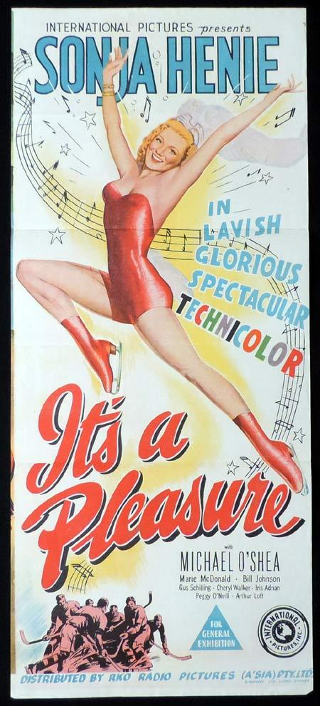 IT'S A PLEASURE Original Daybill Movie Poster RKO Sonja Henie
