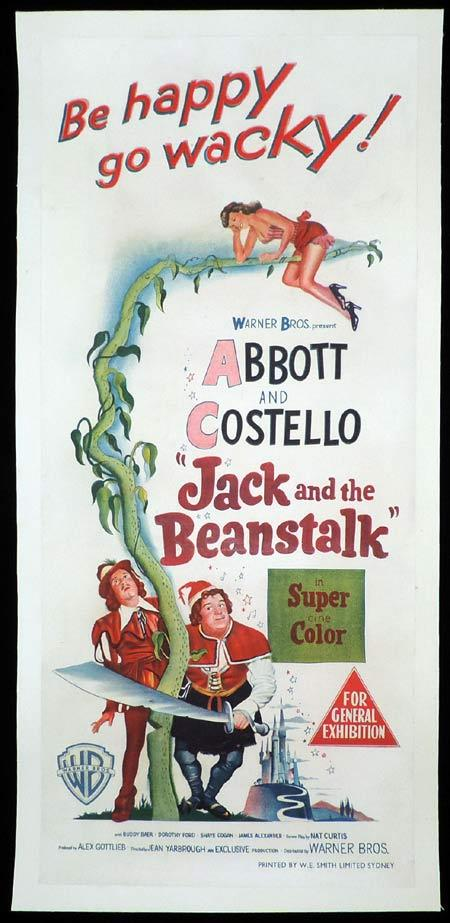 JACK AND THE BEANSTALK ABBOTT AND COSTELLO Daybill Movie poster 1951 Linen Backed