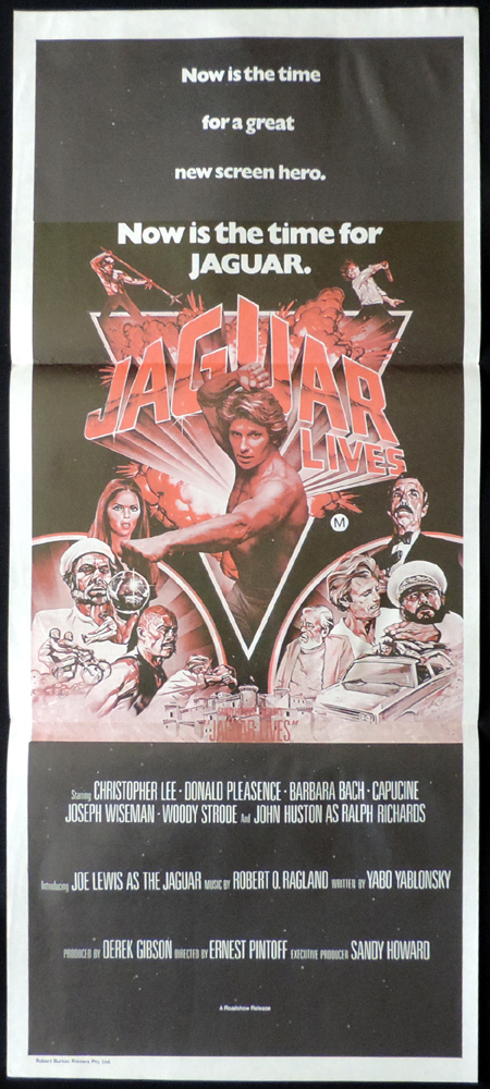 Australian Daybill, Movie poster, JAGUAR LIVES, Christopher Lee, Kung Fu, Martial Arts