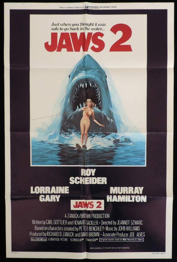 JAWS 2 One Sheet Movie Poster Roy Scheider Shark