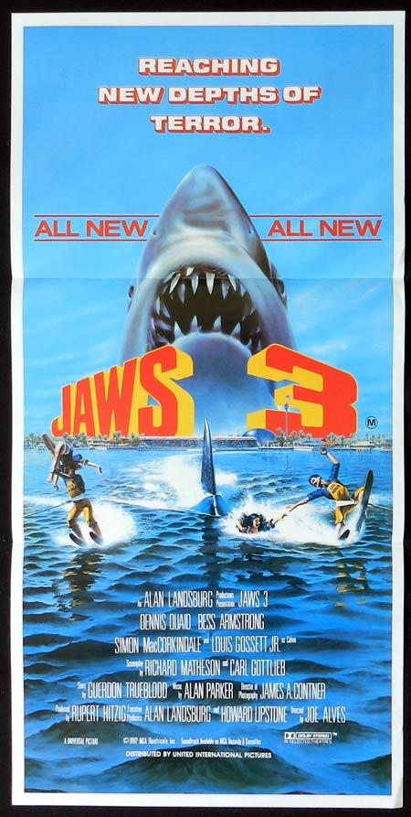 JAWS 3 Original Daybill Movie Poster Dennis Quaid Bess Armstrong Lea Thompson