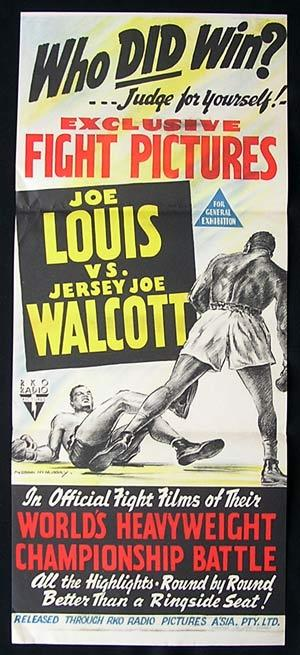 "EXCEPTIONALLY RARE Original RKO hand litho Australian daybill 13"" x 30"" folded as issued fine - very fine condition, slight foxing to borders and minor edge wear. On December 5 of 1947, Jersey Joe Walcott was given his first world title try, breaking a record for the oldest man to receive a world title try at the world Heavyweight title. Despite dropping Joe Louis in round one and once again in round four, he lost a 15 round split decision. Most ringside observers and boxing writers felt Walcott deserved the win, and so a rematch was fought, on June 25, 1948. The second time around, Louis prevailed once again, but by knockout in round 11. 
