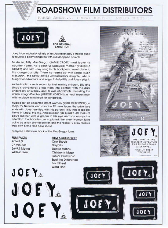 JOEY Rare AUSTRALIAN Movie Press Sheet