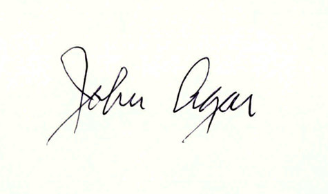 JOHN AGAR Autographed Index Card Sci Fi star