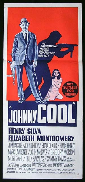 JOHNNY COOL Daybill Movie poster 1963 Elizabeth Montgomery Film Noir RARE CRIME daybill
