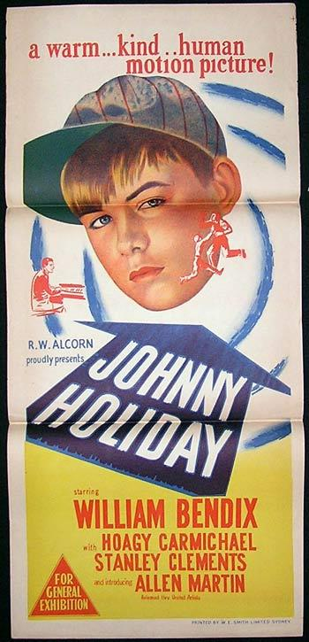 JOHNNY HOLIDAY Original Daybill Movie Poster Anne Baxter Steve Forrest