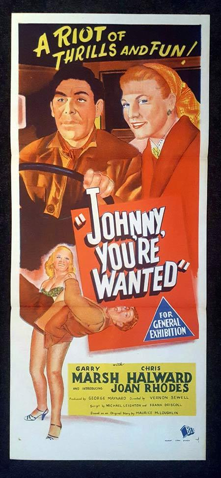 JOHNNY YOU'RE WANTED Daybill Movie poster Garry Marsh Joan Rhodes Alfred Marks