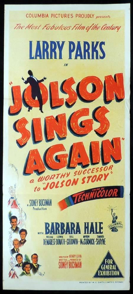 JOLSON SINGS AGAIN Original Daybill Movie Poster Larry Parks Al Jolson
