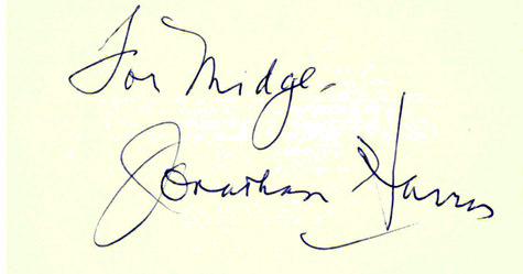 JONATHAN HARRIS aka DR SMITH Autographed on Index Card Lost in Space 2