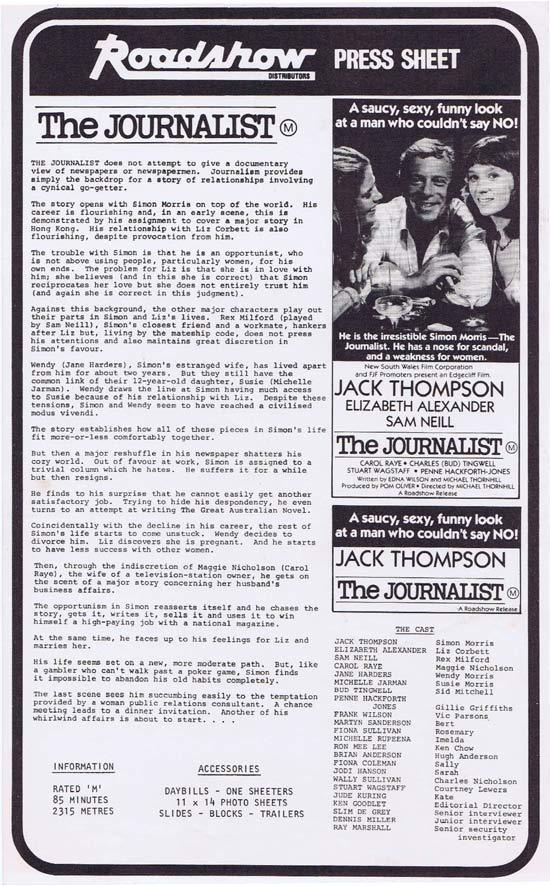 THE JOURNALIST Rare AUSTRALIAN Movie Press Sheet