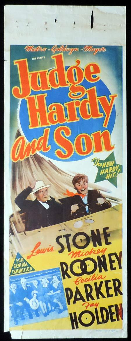 JUDGE HARDY AND SON, Long Daybill, Movie poster, MICKEY ROONEY, Lewis Stone