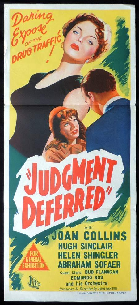 JUDGEMENT DEFERRED Original Daybill Movie Poster Joan Collins Film Noir