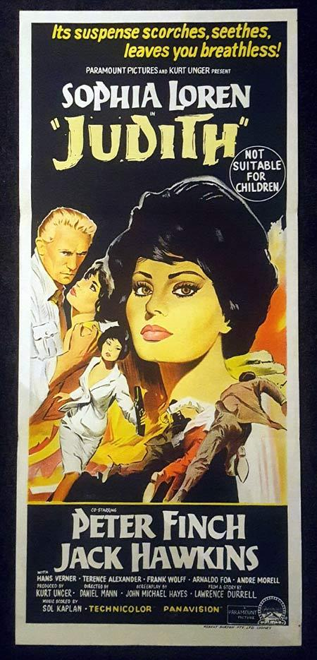 JUDITH Daybill Movie Poster Charles Peter Finch Sophia Loren