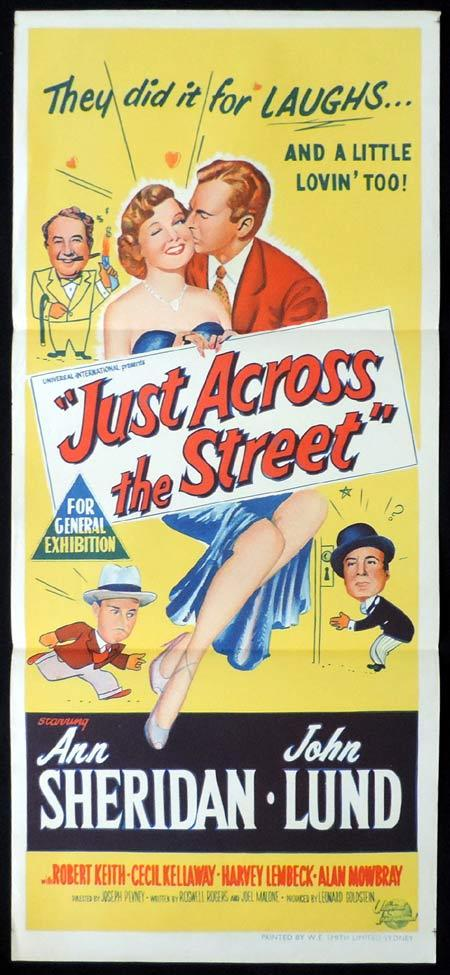 JUST ACROSS THE STREET Original Daybill Movie Poster Ann Sheridan John Lund