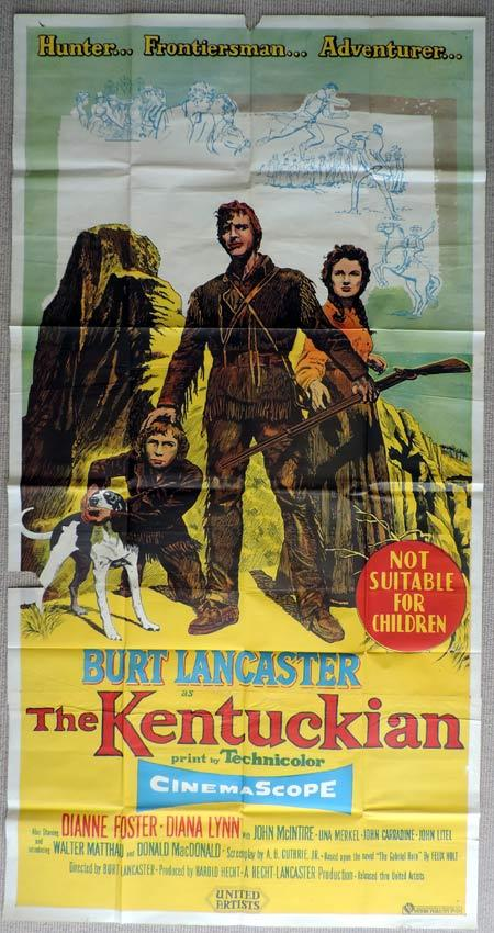THE KENTUCKIAN Original 3 Sheet Movie Poster Burt Lancaster