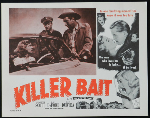 TOO LATE FOR TEARS aka KILLER BAIT 1950s Lobby Card 4 Lizabeth Scott FILM NOIR