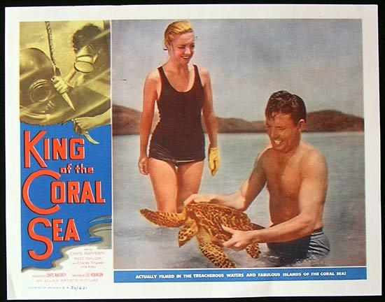 KING OF THE CORAL SEA Lobby Card 6 1953 Charles Tingwell with Turtle RARE Skin Diving Lobby Card 6