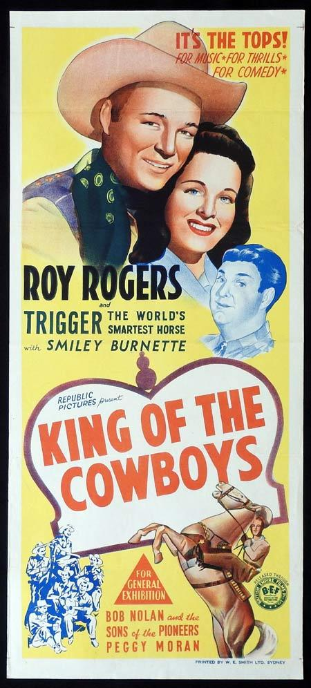 KING OF THE COWBOYS Original Daybill Movie Poster Roy Rogers Smiley Burnette Peggy Moran