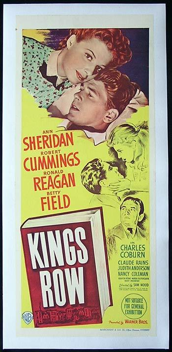 KINGS ROW Movie Poster 1942 Ronald Reagan Linen Backed