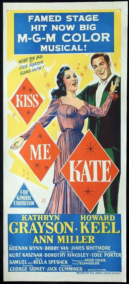 KISS ME KATE Original daybill Movie Poster Mario Lanza Kathryn Grayson