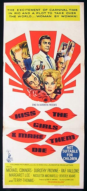 KISS THE GIRLS AND MAKE THEM DIE Daybill Movie poster 1966 Michael Connors