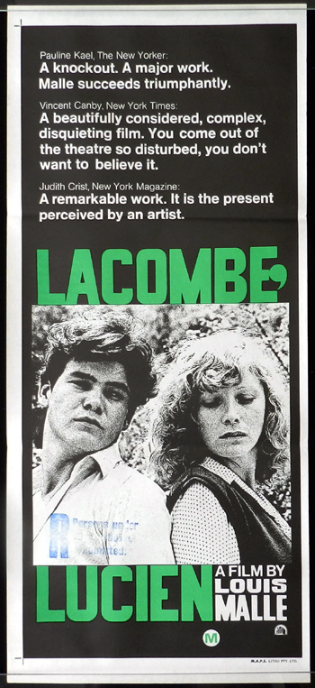 LACOMBE LUCIEN Australian Daybill Movie poster Louis Malle Pierre Blaise