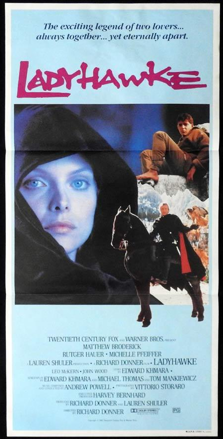 LADYHAWKE Original Daybill Movie Poster Michelle Pfeiffer