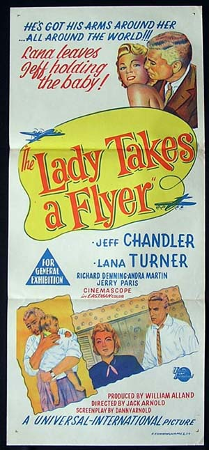 LADY TAKES A FLYER 1958 Lana Turner RARE Movie poster