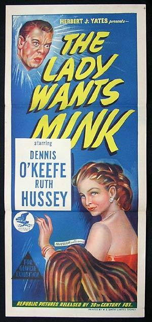 LADY WANTS MINK Movie Poster 1953 Dennis O'Keefe RARE daybill